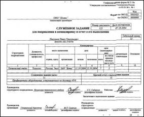 Служебное задание и отчет его выполнении Т-10а бланк